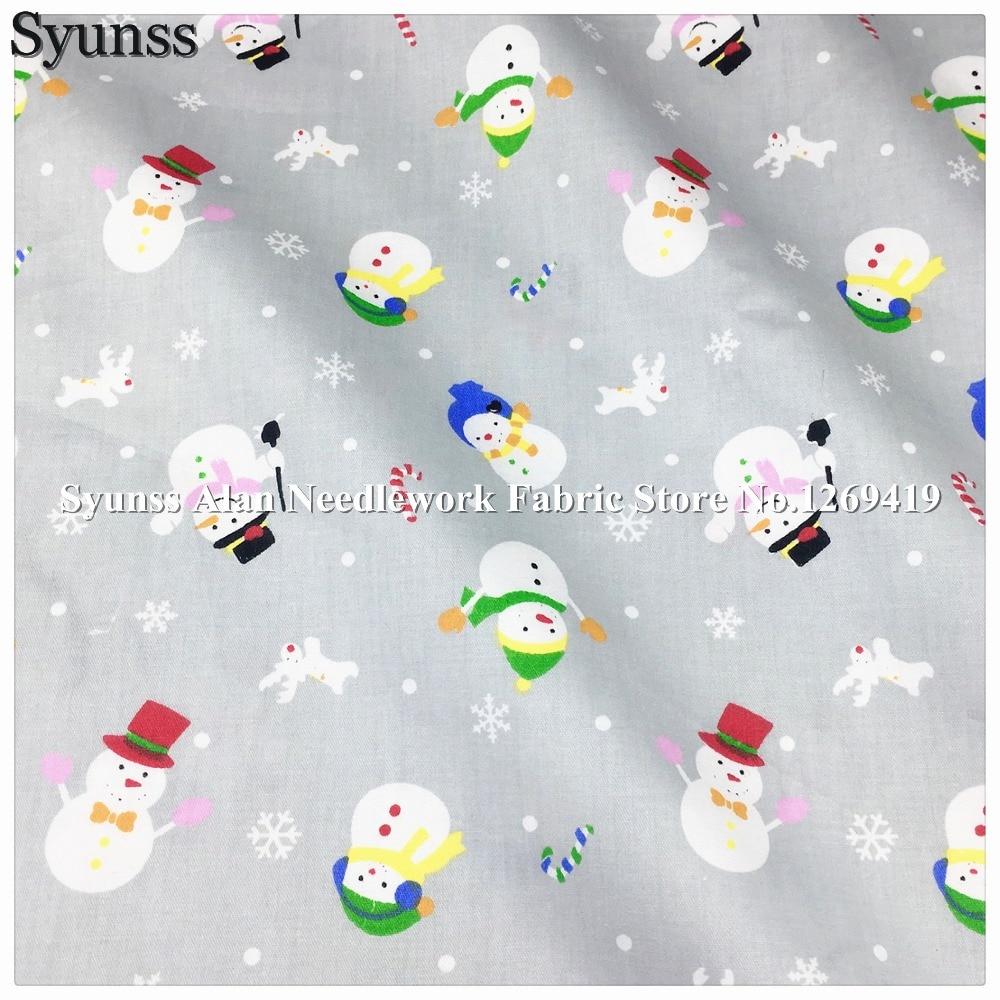 Syunss Tissu en coton sergé pour le bricolage | Tissu Patchwork de literie, Tissu de jouet de bébé, Patchwork de Telas, couture de jouet de bébé, Tissu matelassé à dos gris, bonhomme de neige, Tecido