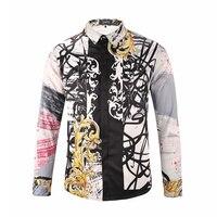 2017 New arrival Autumn Flower Stripe Men Shirts Casual Shirts high quality plus size MLXL2X