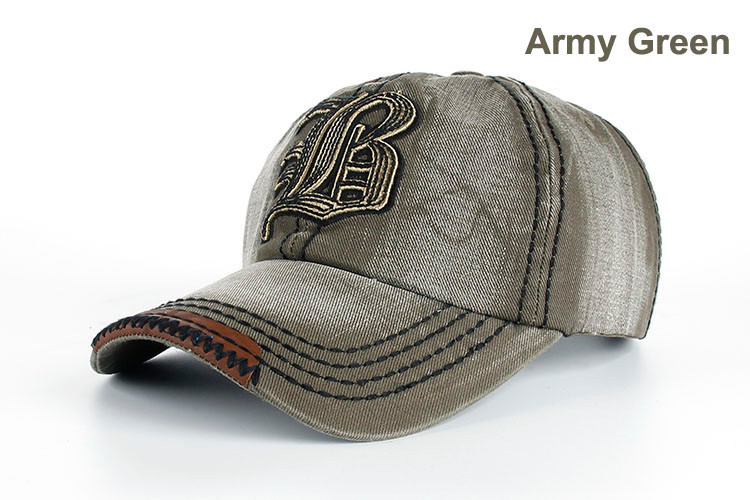 "Embroidered Letter ""B"" Denim Dad Hat - Army Green Dad Hat"