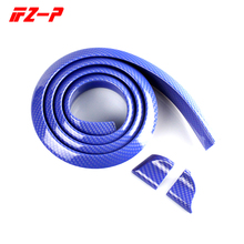 FZ-P Car Blue Carbon Universal Rear Spoiler Soft Rubber Wing Fit for Rear Automotive Spoiler 1.5 Meters