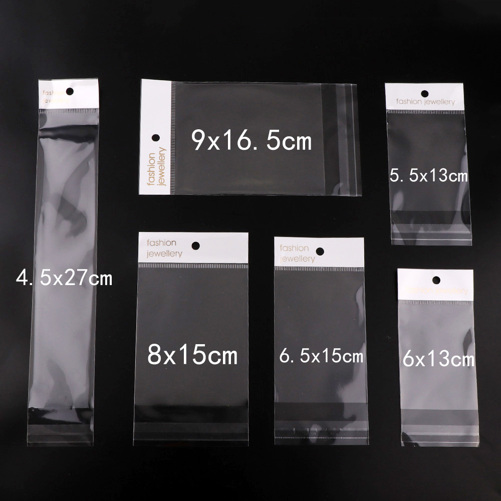 100 Pieces 6 Size Fashion Jewelry Clear Self Seal Zipper Plastic Retail Packaging Pack Poly Bag Ziplock Jewelry Packaging