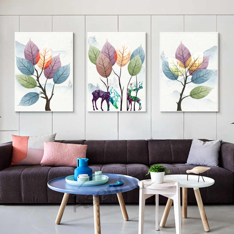 Nordic Abstract botanic ElK Modern pictures Canvas Painting Artwork print art wall poster for Living Room Home Decor Unframed
