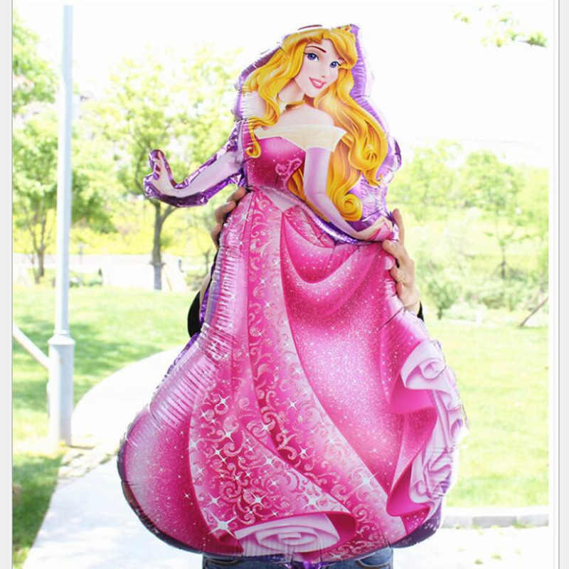 5 pçs/lote Grandes Balões Cinco Figuras Balões Folha de Aniversário Da Princesa Chá de Bebê Menina Figura Bola Balão de Hélio Feliz Aniversário