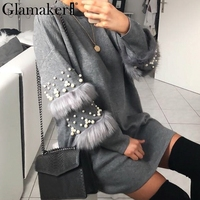 Glamaker Pompom fur pearl knitted long jumper Women grey turtleneck winter sweater Female loose autumn pullover pull femme 2018