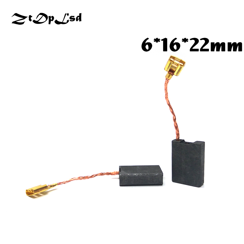 ZtDpLsd 2 Pcs/Pairs 6x16x22mm Mini Drill Electric Grinder Replacement Carbon Brushes Spare Parts For Electric Rotary Tool