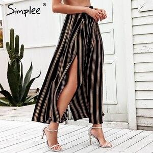 Image 2 - Simplee Hoge Taille Losse Gestreepte Zomer Broek Plus Size Sexy Side Split Vrouwen Broek Elastische Katoen Witte Wijde Pijpen Broek 2018