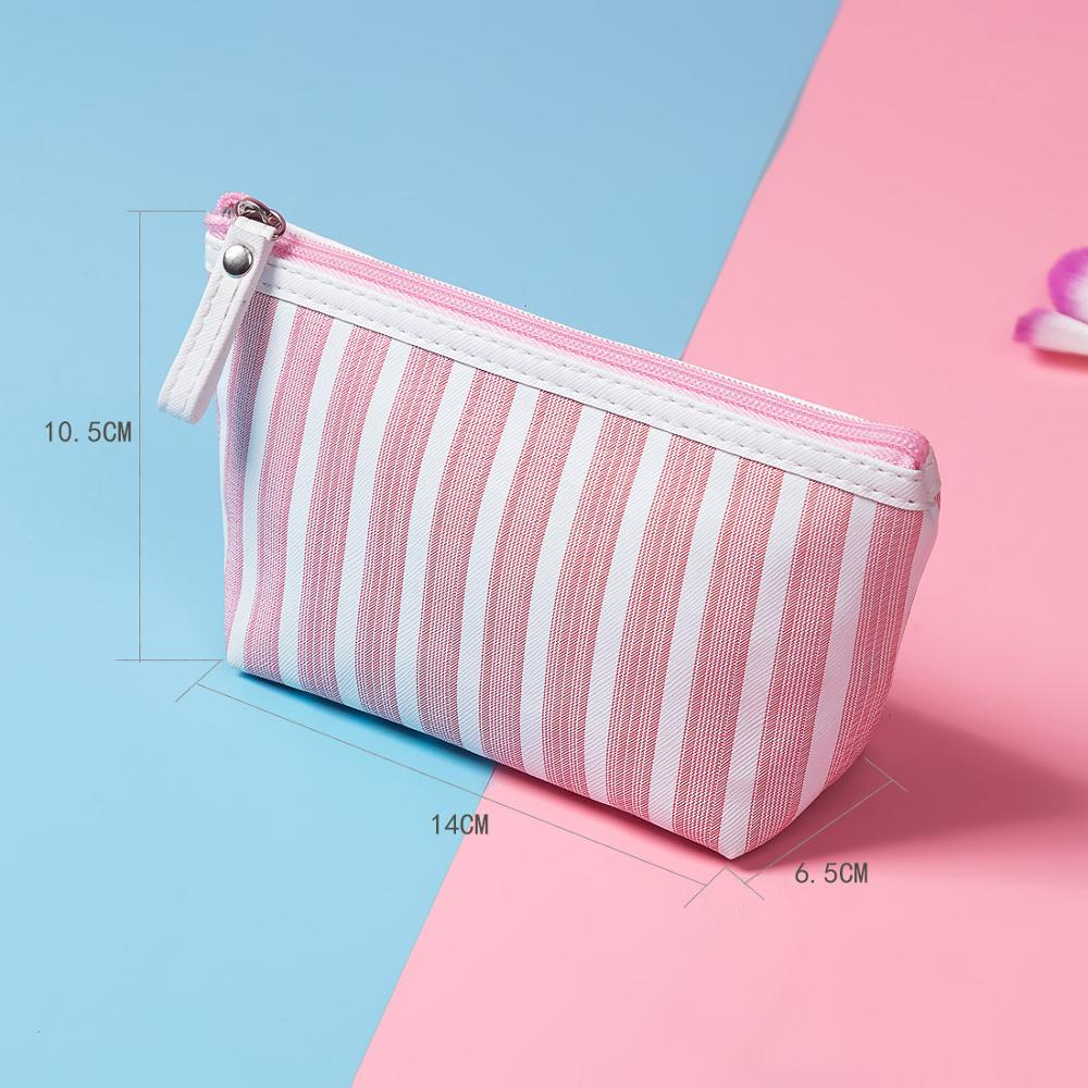 Miyahouse Canvas Cosmetic Bag Women Make Up Bags Striped Printed Travel Toiletry Organizer Portable Pouch Makeup Case