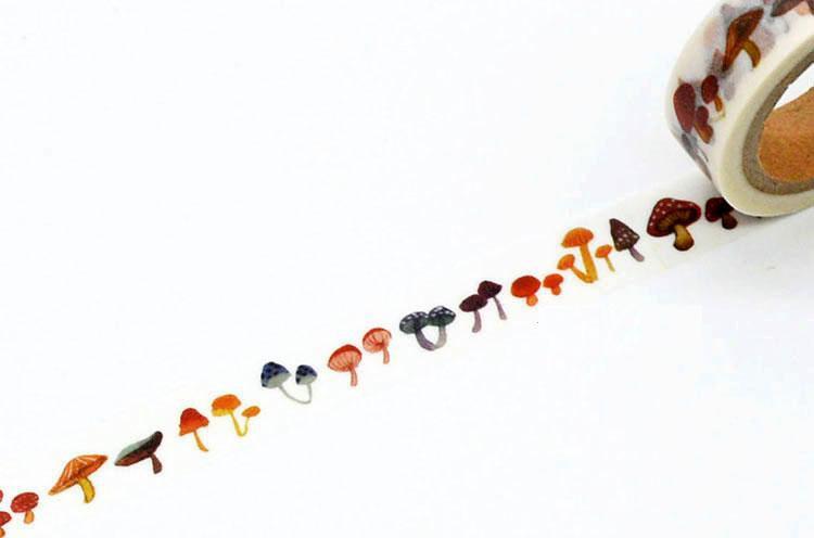 1Roll High Quality 15mmx7m Mushroom Pattern Japanese Washi Decorative Adhesive Tape DIY Masking Paper Tape Sticker Free shipping