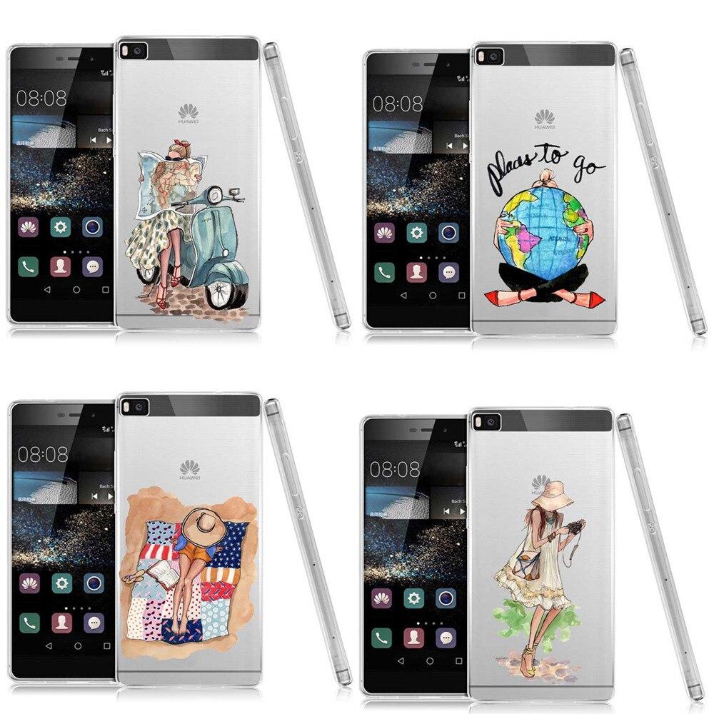 Luxury Fashion Shopping Travel Girl Design Soft silicone TPU Phone Case For Huawei Ascend P8 P9 Plus P9 Lite P8 Lite 2017 P10