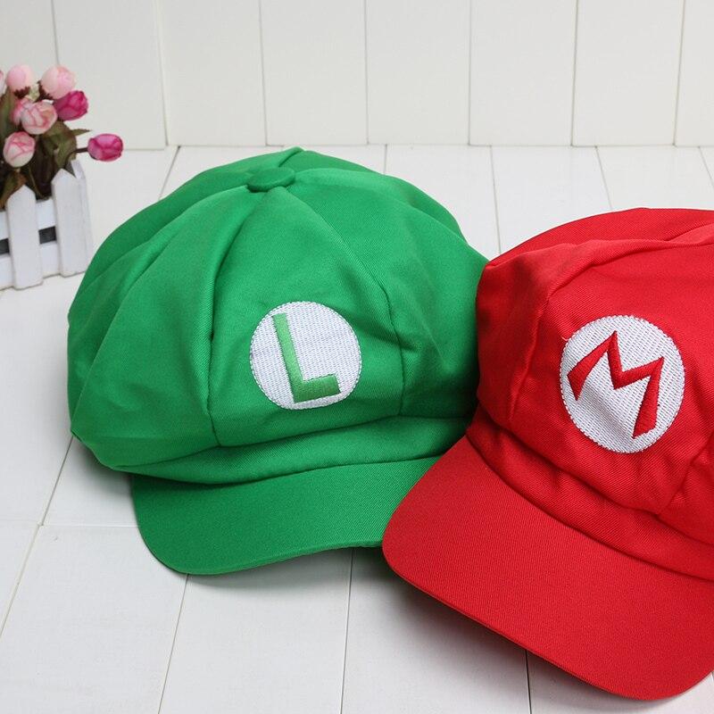 6eee0b9552749f ... Super Mario 5colors Mario Luigi Wario Waluigi Hat Super Mario Bros  Cosplay Adult cap plush toys ...