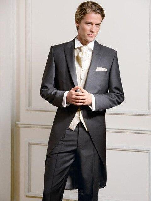 Черный фрак мужской костюм, блейзер длинный итальянский Свадебный костюм для жениха со штанами смокинг с жилетом винтажная куртка костюм