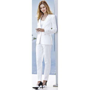 Jacket+Pants Women Business Suits White Single Breasted Slim Female Office Uniform Ladies Formal Trouser Suit 2 Piece Set Blazer