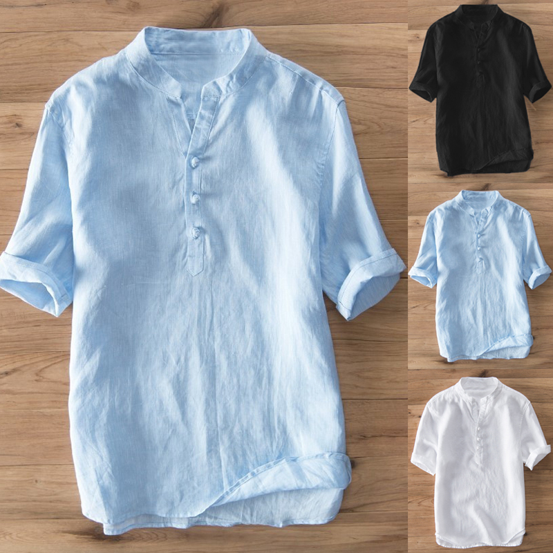 Chinese Style Mens Shirts Casual Short Sleeve 100% Cotton Solid Stand Collar Vintage Summer Shirts Male Dress Camisa Hombre