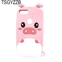 цена на 3D Cartoon Phone Case For Huawei P Smart Funda Silicone Cute Pig Ears Pink Soft Back Cover For Huawei Enjoy 7S Case Fashion Capa