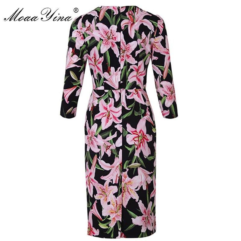 Moaa yina 패션 디자이너 런웨이 드레스 봄 여름 여성 드레스 긴 소매 백합 꽃 프린트 우아한 드레스-에서드레스부터 여성 의류 의  그룹 2