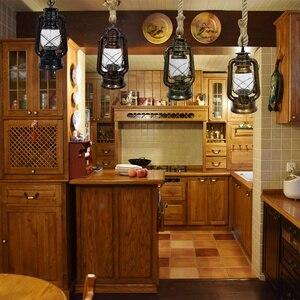Image 5 - Vintage pendant lights hang lamp E27 hemp rope lantern kerosene retro pendant lights hanging lamp industrial Indoor home decor
