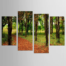 4pcs / set forest road landscape Wall Art For Wall Decor Home Decoration Picture Paint on Canvas Prints Painting(China)