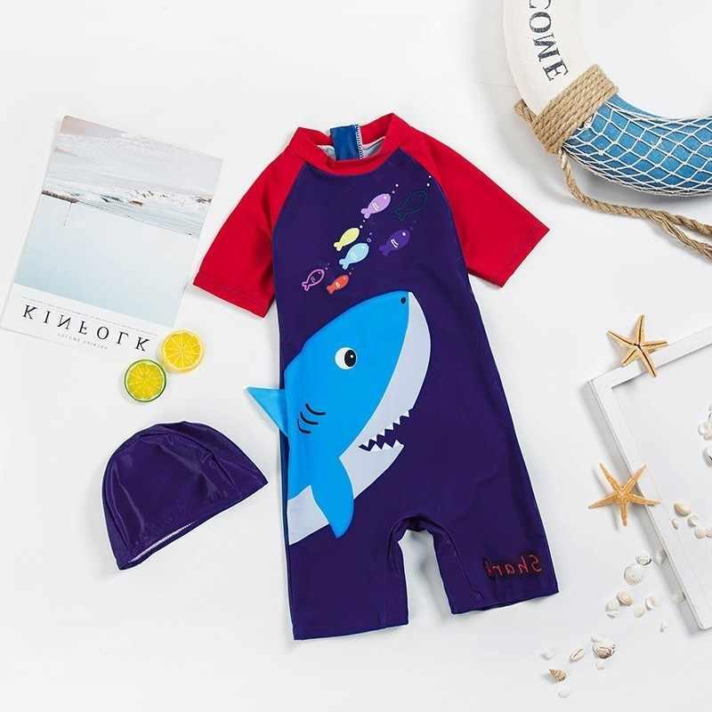 Lin Tai детский купальный костюм Ins Wind Baby солнцезащитный крем speed Do плавки с короткими рукавами с рисунком акулы для мальчиков