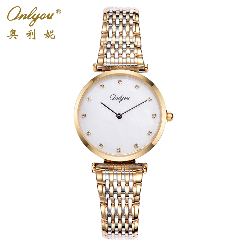 Onlyou Ladies Dress Watches Quartz Rhinestones Shell Face Silver Rose Gold Stainless Steel Strap Wrist Watches