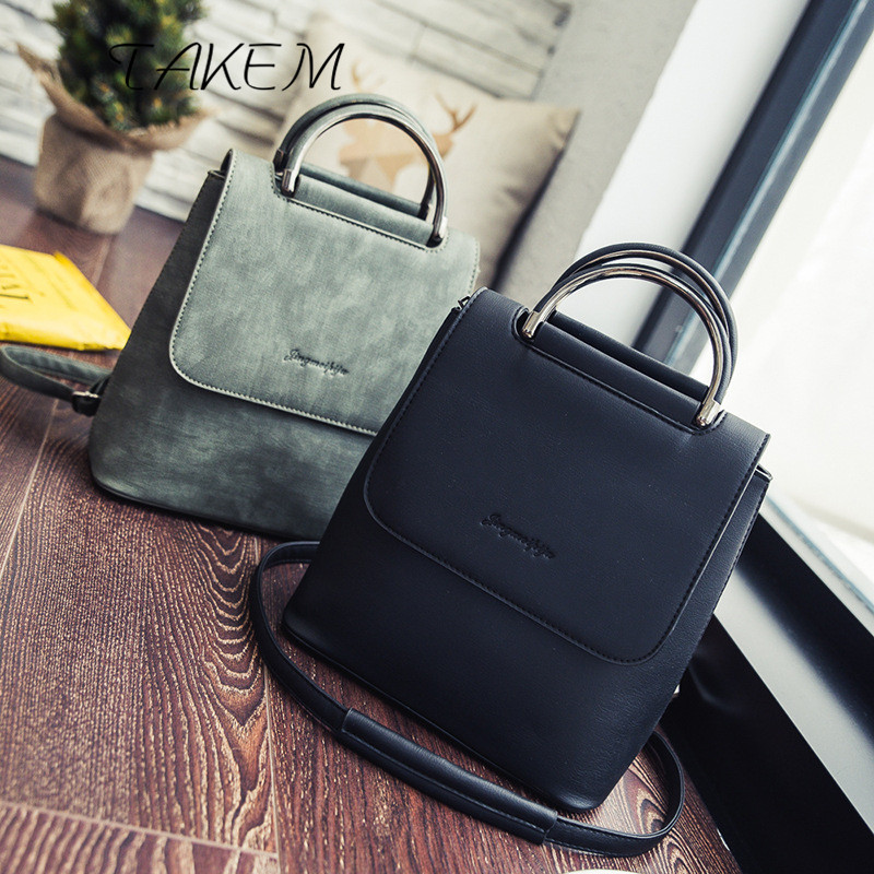 TAKEM 2018 Top Quality PU Women Backpack Casual College Solid  Bookbag Female Stylish Daily Backpacks Bag Suitable for all ages canvasartisan top quality canvas women backpack casual college bookbag female retro stylish daily travel laptop backpacks bag