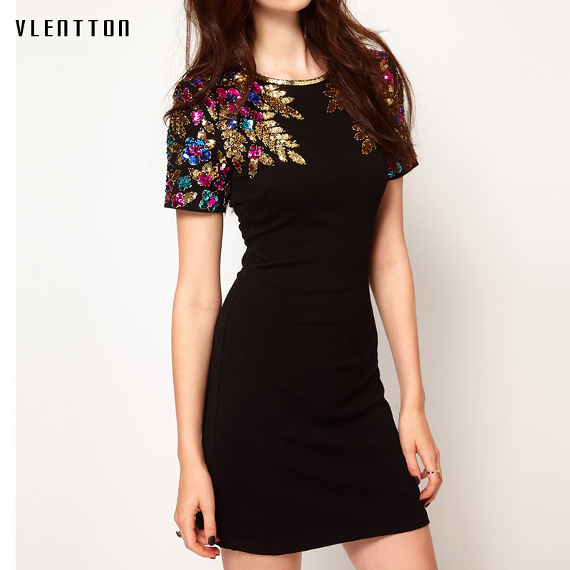 High quality 2018 Spring summer fashion Dress Short Sleeve Sequin Party Dresses Women Elegant Casual Women