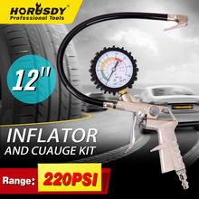 цена HORUSDY 220PSI Tire Pressure Gauge Car Air Dial Meter Vehicle Inflation Gun Self-locking Pistol Grip Trigger Inflator For Auto