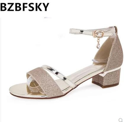 d59c196976b Women Sandals Summer Open Toe shiny Women s Sandals Low Block Heel 5CM  Ankle Strappy Women Shoes Gold silver