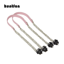 2019 New huntfun 1 Pair Silver screw double  Chain Obag OT metal buckle colorful handles for Obag O Bag women shoulder Handbags 1 pair size 72cm bag handles fit for o bag obag handbag