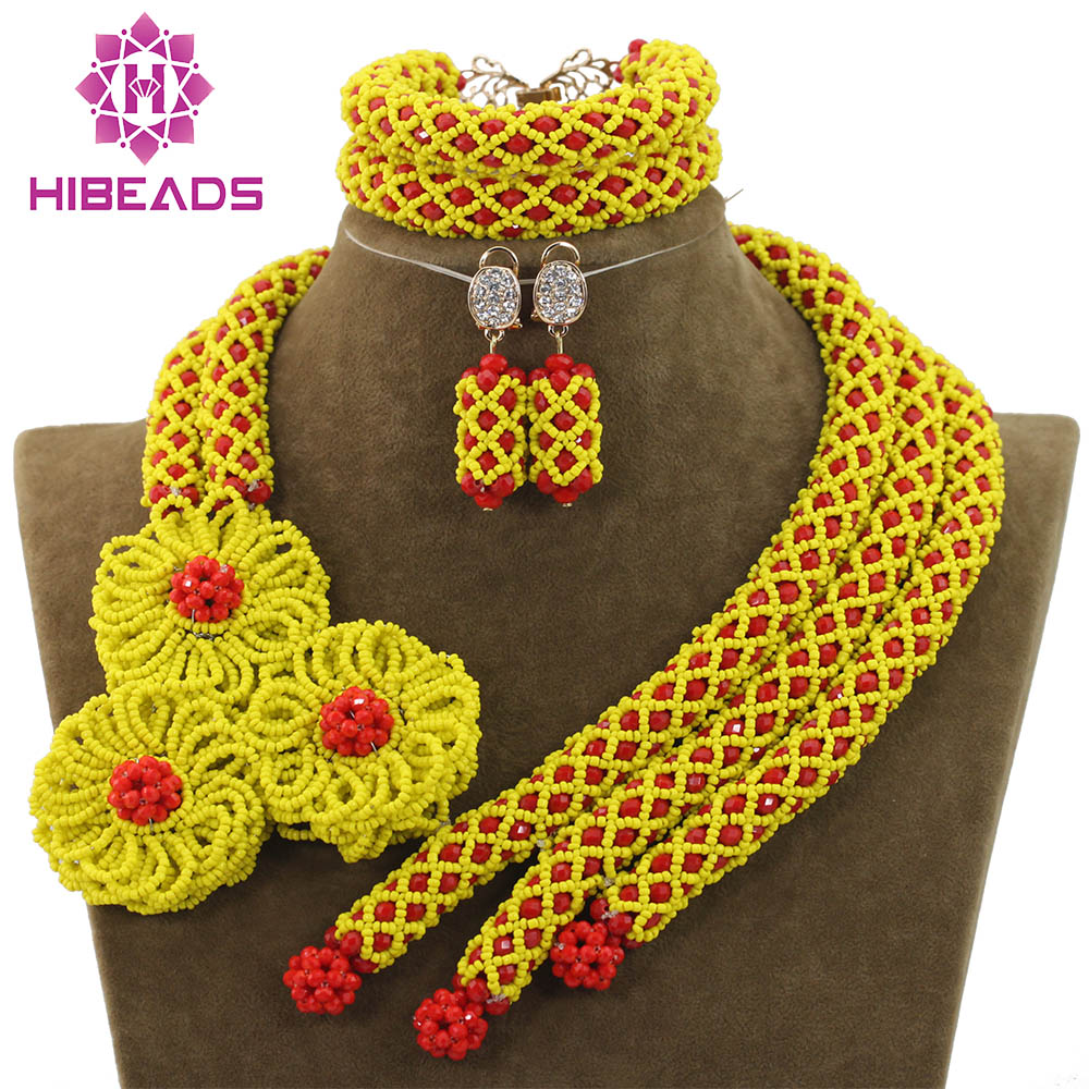 Romantic Yellow and Red Crystal African Beads Statement Necklace Set Wedding Floral Jewelry Set for Women Free Shipping ABH071 hyperbolic layered beads floral necklace for women