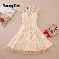 Young Gee Elegant Lace Short Dresses Summer Autumn Beading Shiny Sequined Formal Evening Party Princess Dress vestido de festa