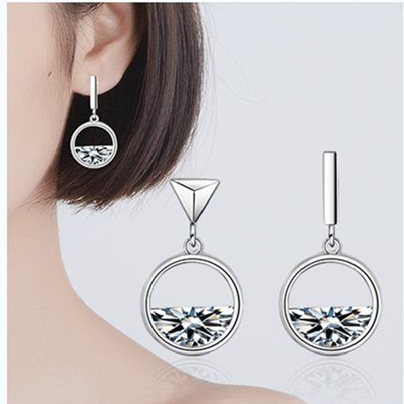 TJP Latest Round River Style Crystal Women Bride Earrings Wedding Sets Fashion 925 Sterling Silver Stud Earring Accessory