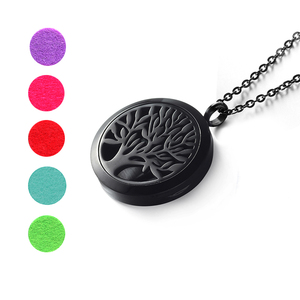 Image 1 - Top Sale Fashion Tree of Life 20mm/25mm/30mm Perfume Locket 316L Stainless Steel Essential Oil Diffuser Locket Pendant Necklace