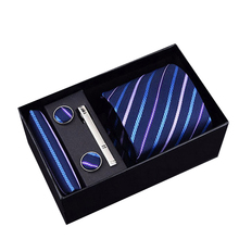 New Brand Male Tie Set Necktie Polyester Handmade Classic Dress Necktie Set Gift Box Packing Blue Dots Free Shipping
