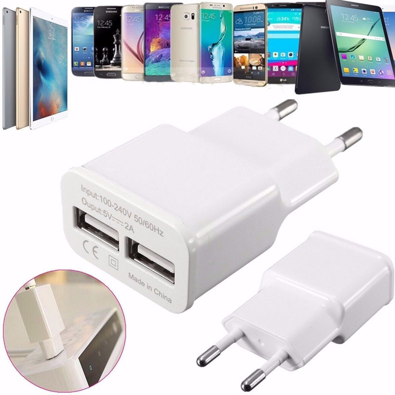 5V 2A Travel Dual 2-Ports USB Wall Adapter Charger Home Wall Charging Double USB Power Socket Dock For Samsung iPhone 7 EU Plug