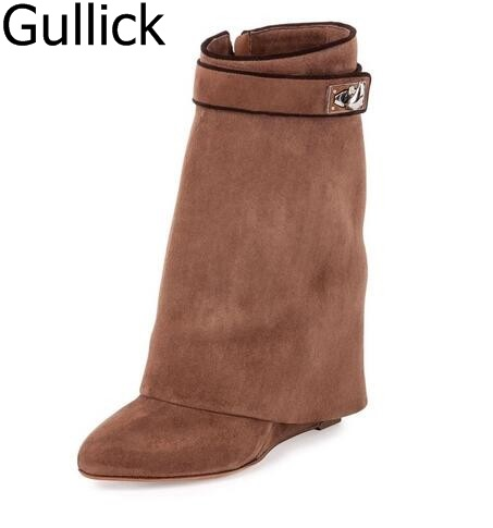Fashion Spring/Winter Solid Black Red Branded Design Shark Fold Leather Wedge Women Mid-Calf Boots High Quality Drop Ship