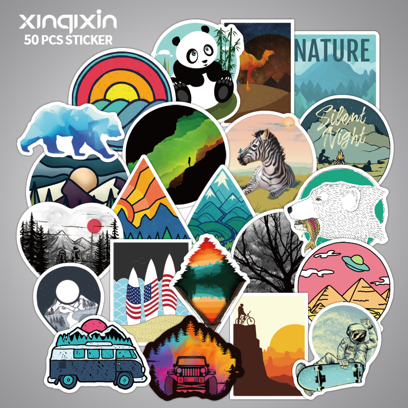 50pcs/pack PVC Waterproof Outdoor Scenery Fun Sticker Toys For Children For Moto Car & Suitcase Cool Fashion Laptop Stickers A