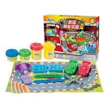 Non toxic Wheatmeal Play Dough Plasticine Automobile Race Set Kids Doughy Plasticine Tool Molds