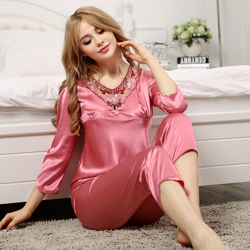 Luxury Women Sexy Satin Silk Pajamas Sets Tops+Pants Sleepwear hollow out V-neck  Nightwear pyjama flower ladies loungewear