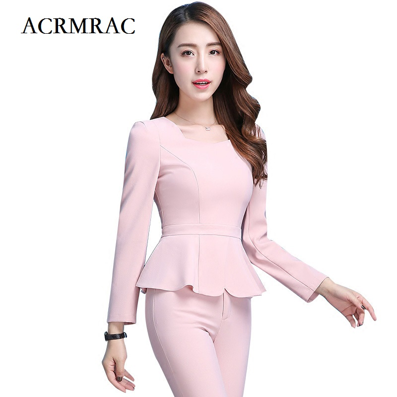 ACRMRAC Women Formal wear Suit Short style Ruffle Long sleeves Solid color Slim Business OL Formal Pant Suits