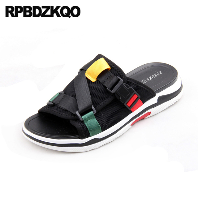 5720d7515b0542 Black Slippers Shoes Designer Slip On Beach Men Open Toe Flat Casual Mesh Fashion  Slides Mens