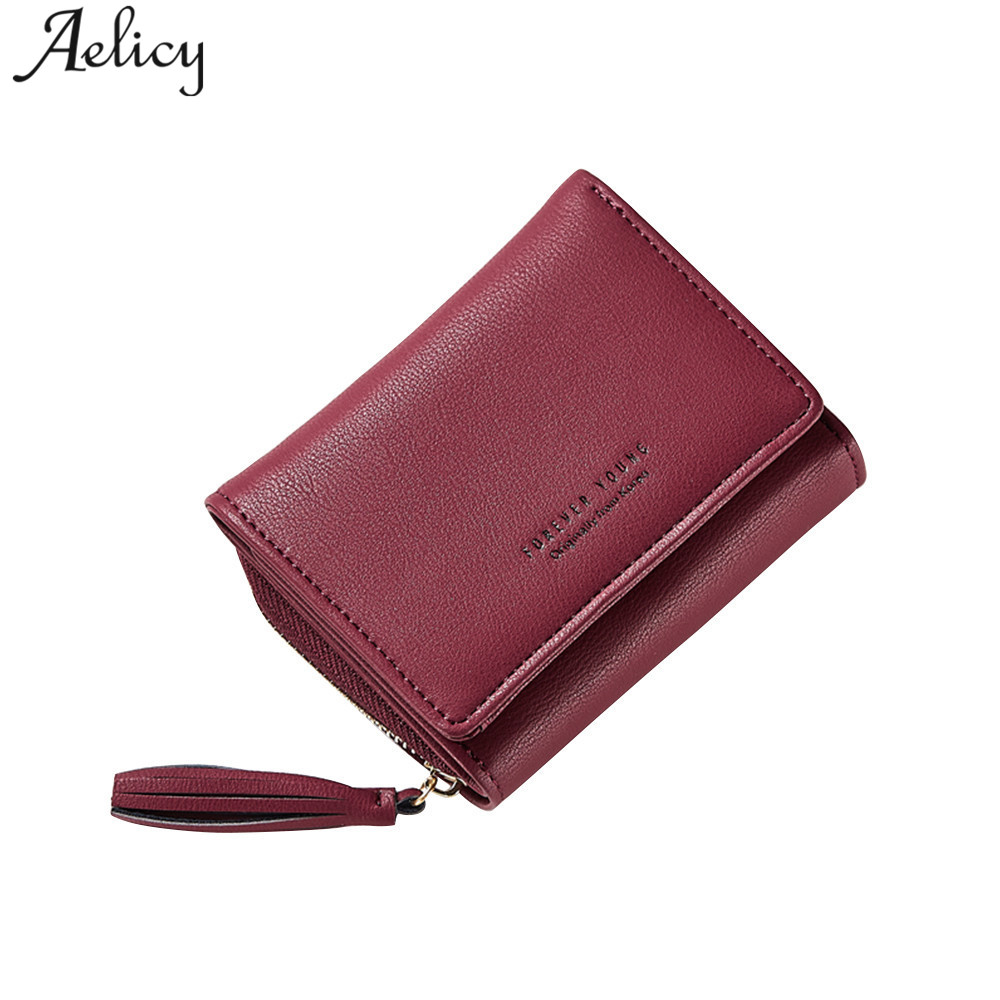 Aelicy Fashion Tassel Small Wallets Coin Purses Card Holders Invoice Pocket Women Wallets Polyester Wallet Female Zipper & Hasp