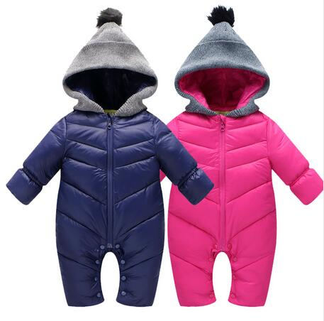 Brand Baby Rompers Winter babys Boys outerwear Girls Warm Clothes Kids Jumpsuit Baby duck down crawling clothes 0-12M baby winter outerwear