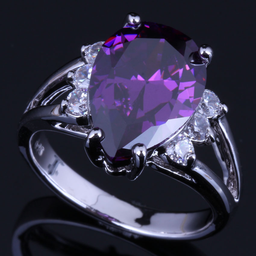 Magnificent Pear Purple Cubic Zirconia White CZ 925 Sterling Silver Ring For Women V0629
