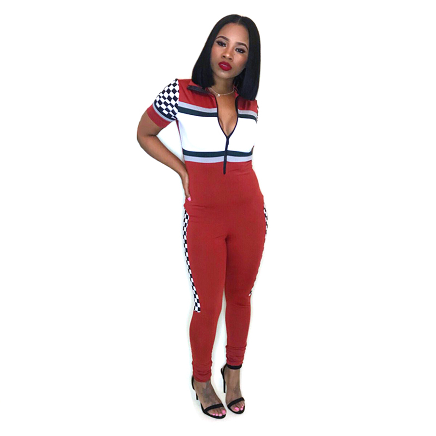 116e9ee760ce SexeMara Sexy Printed Short Sleeve Jumpsuit Moto Biker Sexy Waist Overalls  Deep V-Neck Rompers Fitness Playsuits Jumpsuit 2018. 5 0171 (1) 1 2 ...