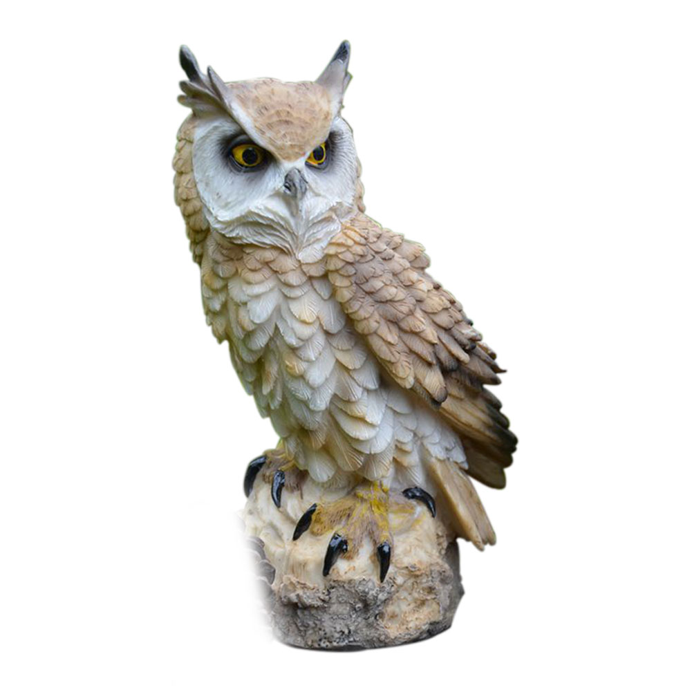 Anti-bird Art Craft Ornament Resin Home Owl Shape Lifelike Indoor Garden Figurine Cute Desktop Collection Decoration Outdoor