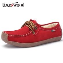 Frühlings-Plüsch-Boots-Schuh-Kuh-Leder-Frauen-Ebenen-Wildleder-Beleg auf Fransen-Müßiggänger-Schuhen Baller-flachem flexiblem Pelz-Boot Oxford-warmer Schuh