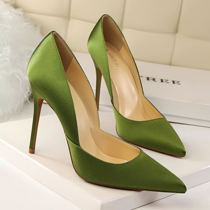 New Spring Women Elegant Satin Pumps European Fashion High Heeled Shoes Shallow Thin Hollow Pointed Sexy Female Shoes G2577-2