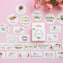 50pcs/pack Funny Greeting Words Series Decorative Paper Sticker Scrapbook Adhesive Sticky Label Bookmark