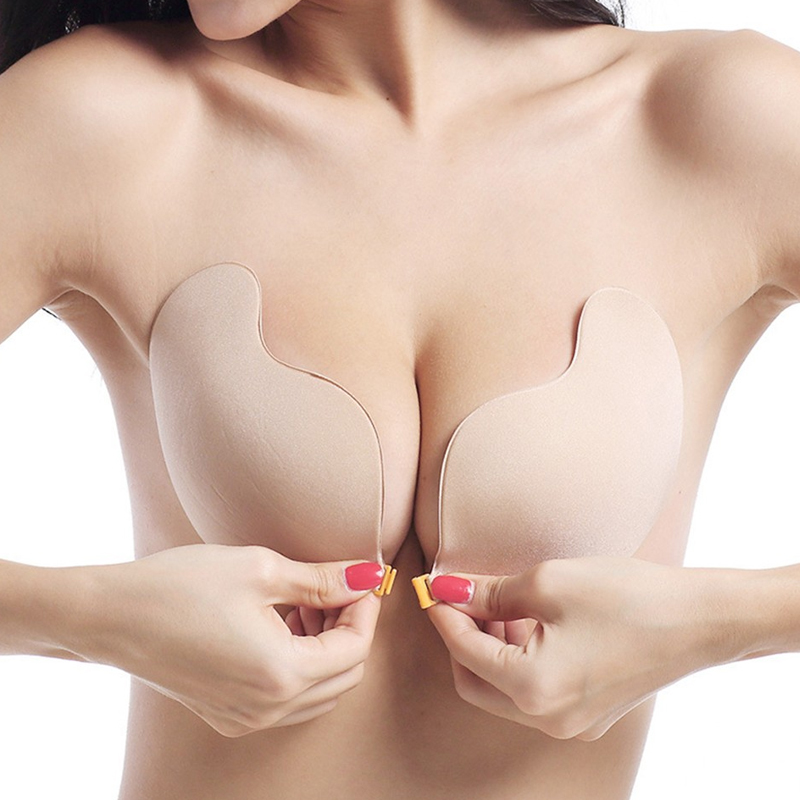 DERUILADY Adhesive Invisible Bras For Women Sexy Lingerie Seamless Silicone Sticky Bralette Strapless Front Closure Push Up Bra 1
