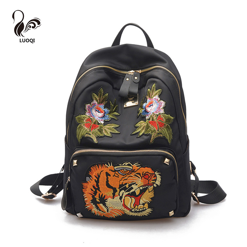 ФОТО LUOQI Flower Tiger Women Backpack High Quality PU Leather School Bag Famous Brand Designer Luxury Women Backpack Embroidery Bags